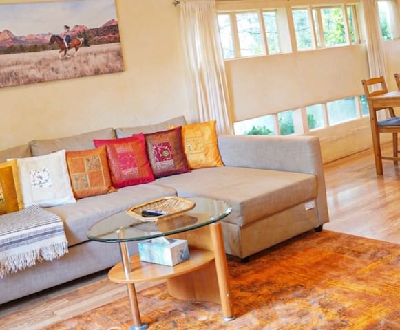 Relax and unwind in your living room. This couch also becomes a queen size bed