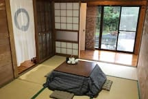Japanese 'kotatsu' lounge with heater and leg space under the table!