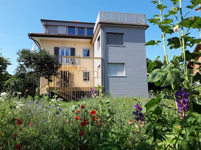 appartement de 3.5 pièces au 1er étage.  Au calme, et idéalement situé. (Depuis le jardin face sud)
