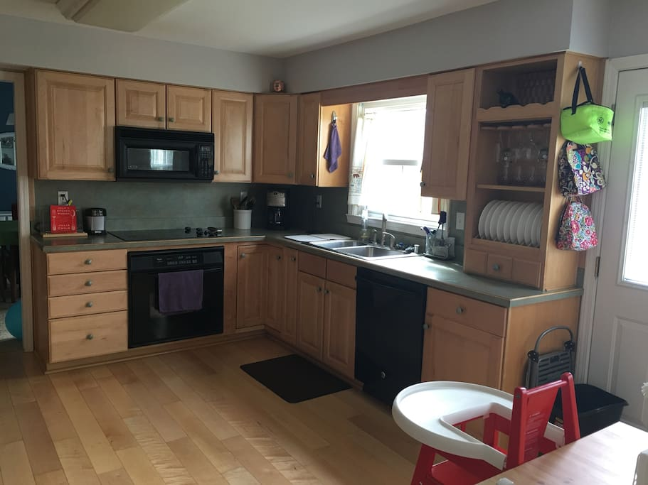 Updated appliances and any cooking utensils are available.