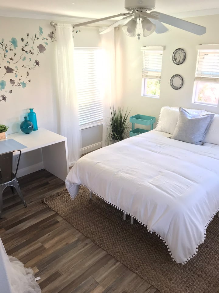 Bright and spacious private bedroom and bathroom