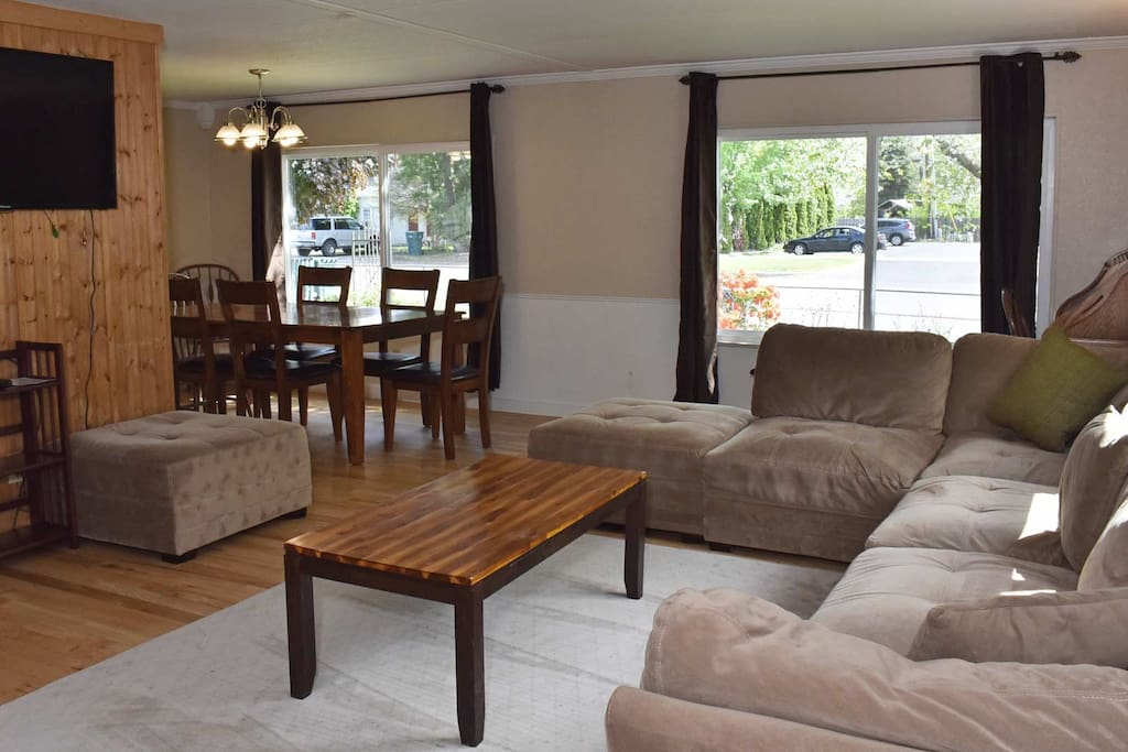 Large open living room area with sectional couch