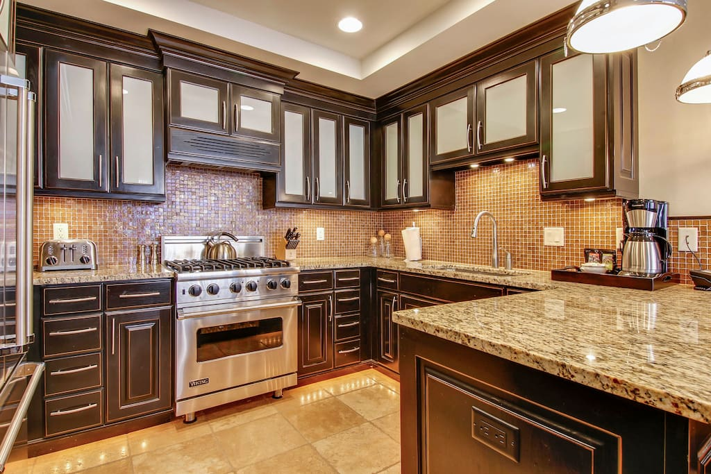 Amazing gourmet kitchen with Viking appliances.