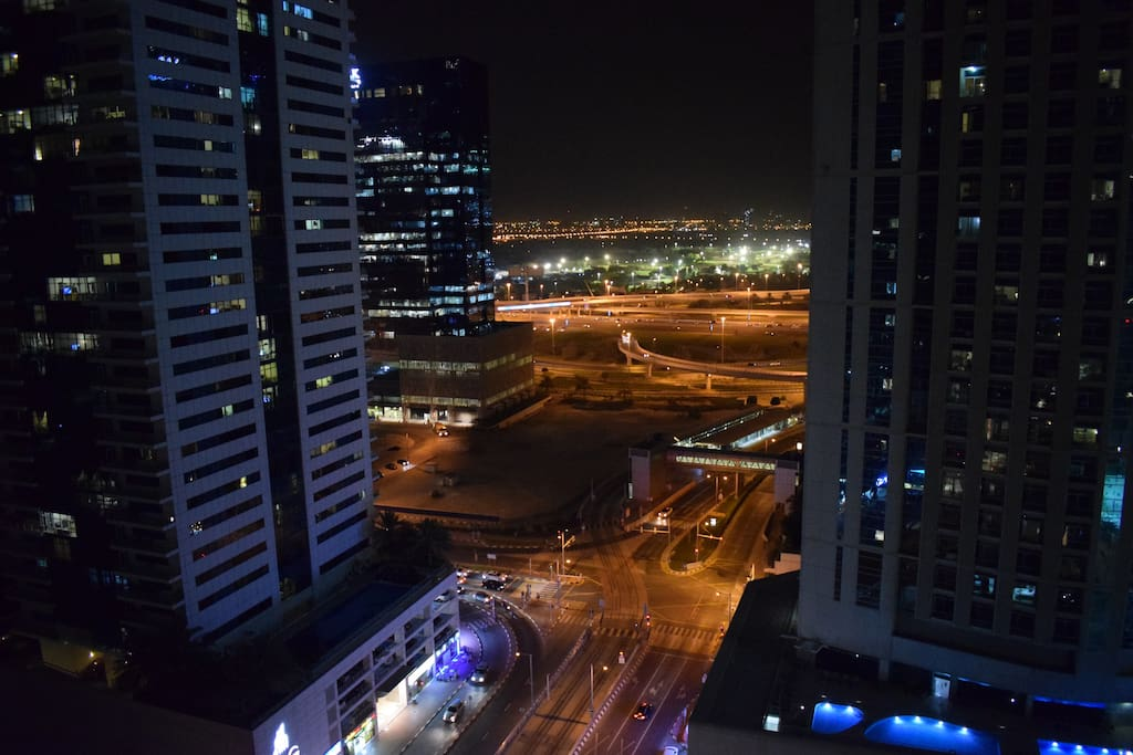 Balcony view at night