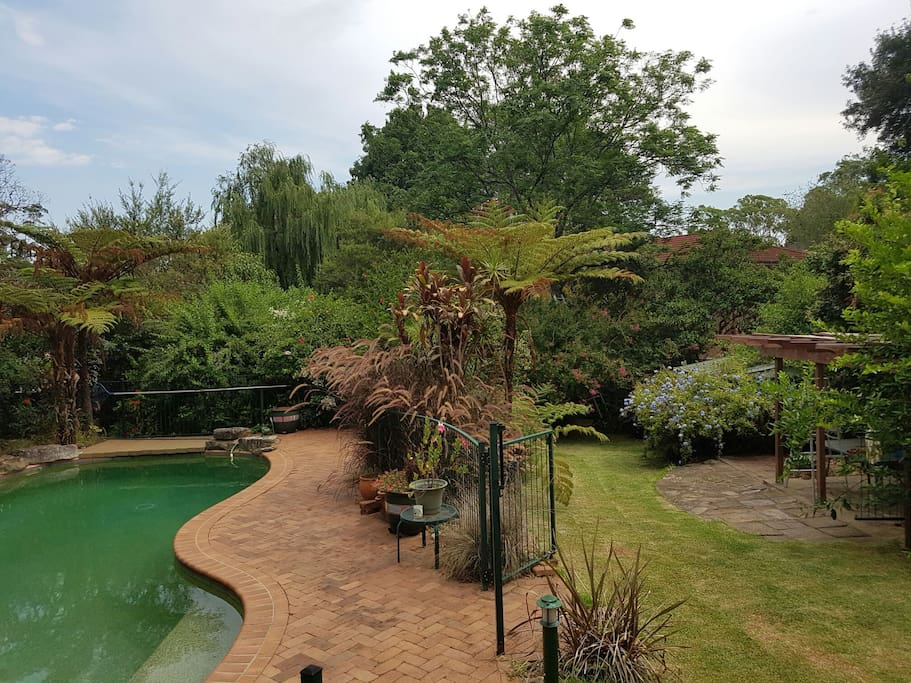 Large garden, pool and entertaining area.