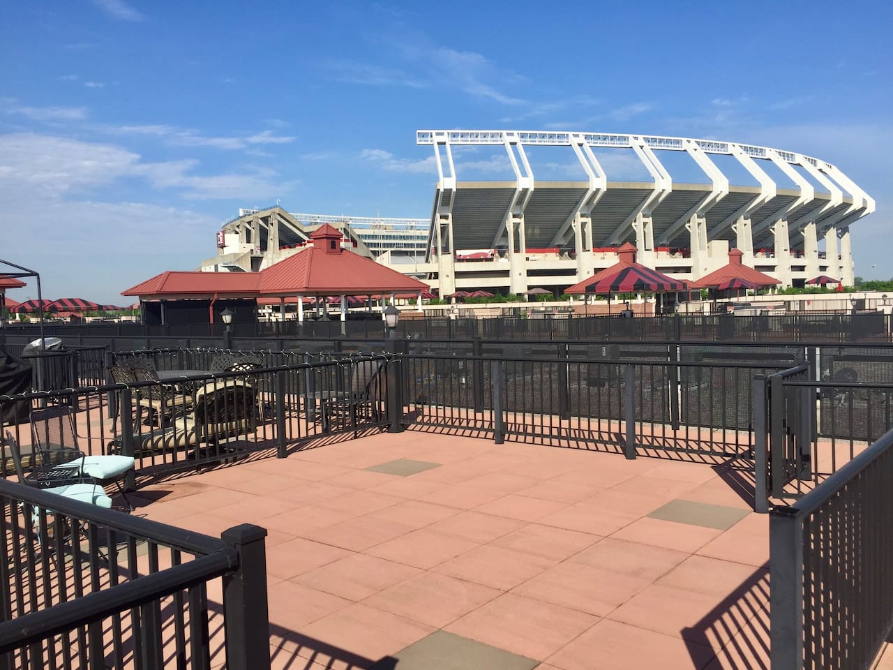 Private rooftop  patio. Hear  the game day action or concerts live! Best views around for game day experience!