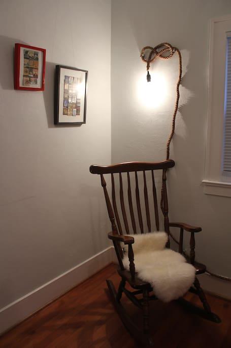 Cozy chair in bunk room