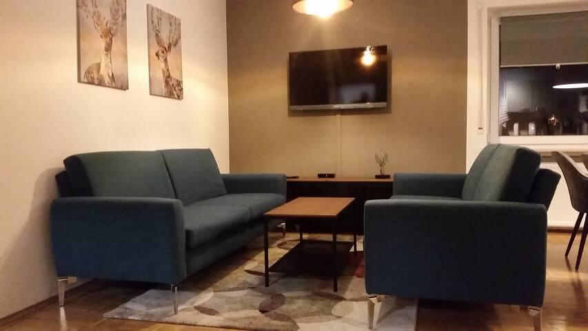 Wohnzimmerbereich mit 2 Schlafcouches im Abendlicht