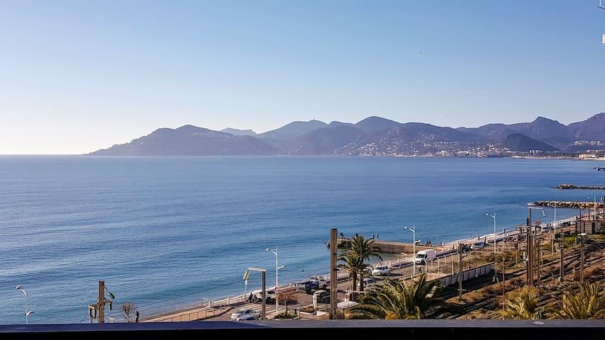 Cannes Loue T2 vue magnifique mer 50 m de la plage