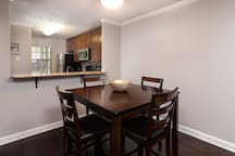 Open floor plan with dining area open to the kitchen for easy access.