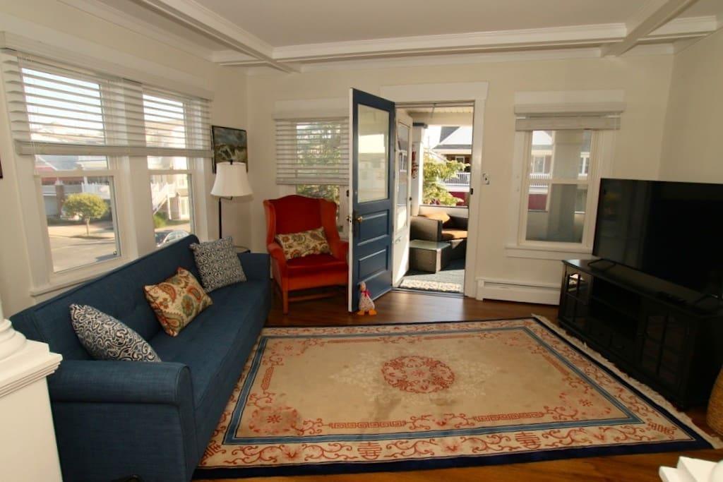 Living room to the front door