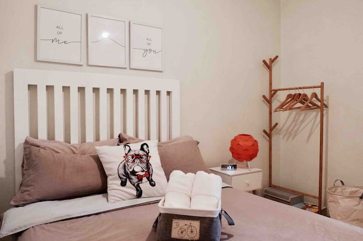 Snooze comfortably in our Nordic themed bedroom with super comfy sheets and pillows