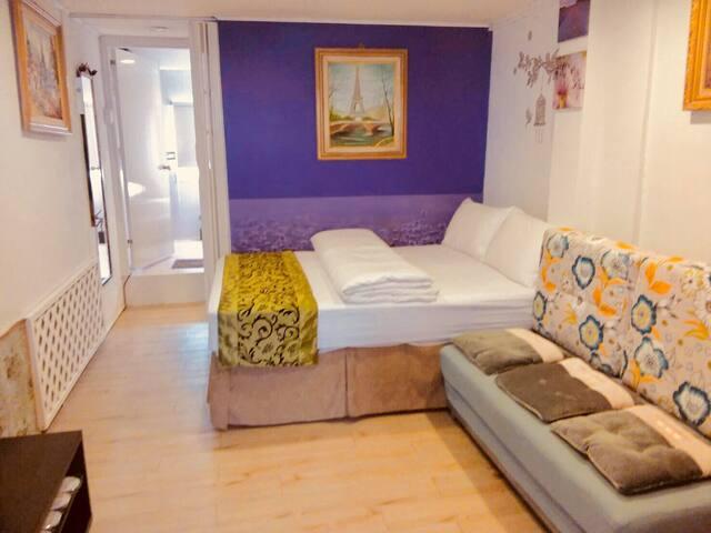 客廳:1張大床和沙發 livingroom: 1 extra bed with sofa