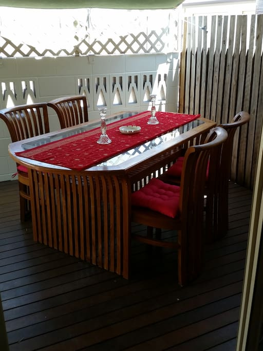 Outdoor dining area on the back deck for all of your special meals