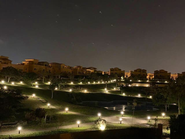 Beautiful night landscape view from balcony