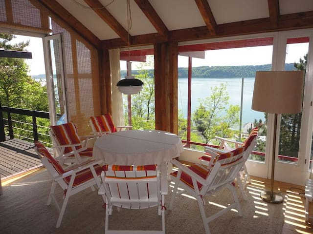 """Exceptional Holiday Home """"Adlerhorst über dem Bodensee"""" with Panoramic Glazing, Terrace, Lake and Mountain Views & Wi-Fi; Parking Available"""