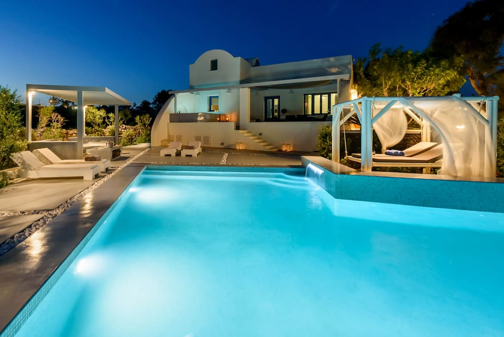 Ambeli villa by night