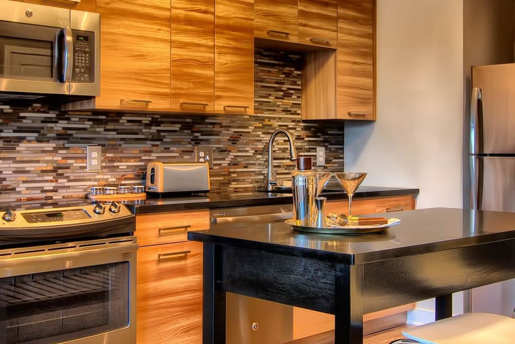 Open kitchen with updated appliances