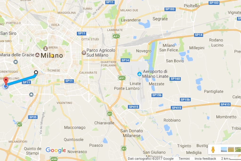 the apt is 12 min by tram number 2 from Porta Genova (Salone del Mobile)