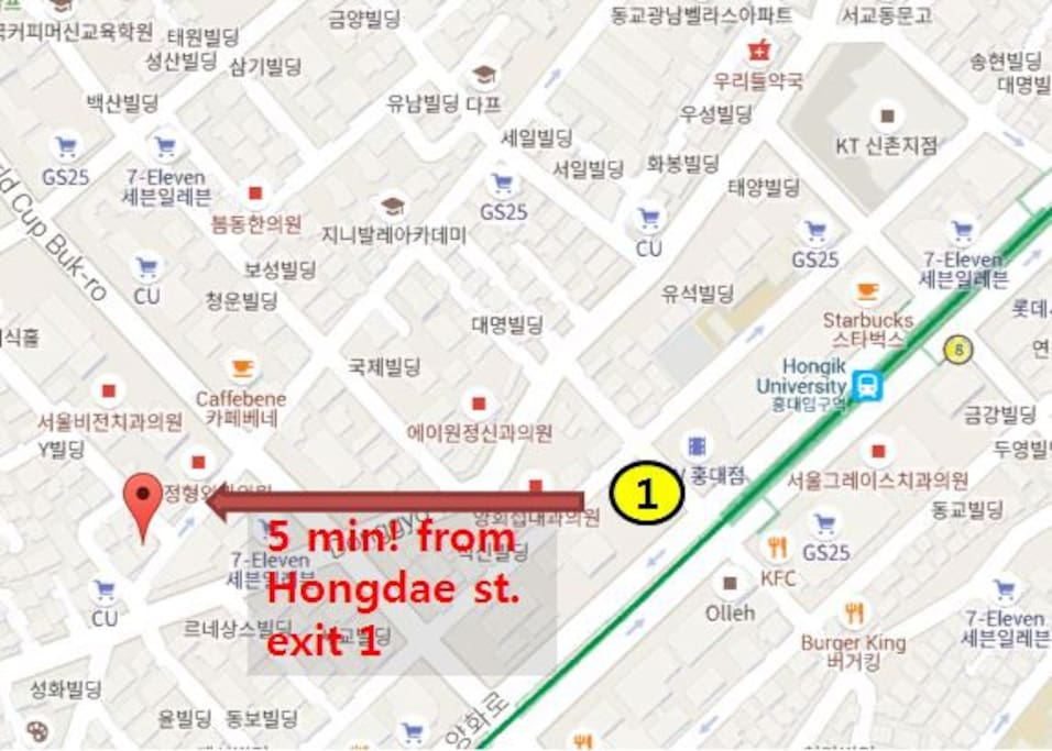 5min. from Hongdae station exit No.1