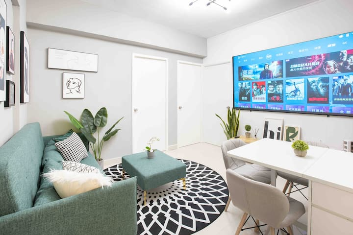"New! Modern 3 Bedroom+Balcony+92"" Screen+Netflix"