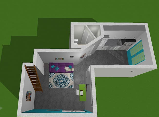 This is a 3d model of the space, the view here is focused on the living room