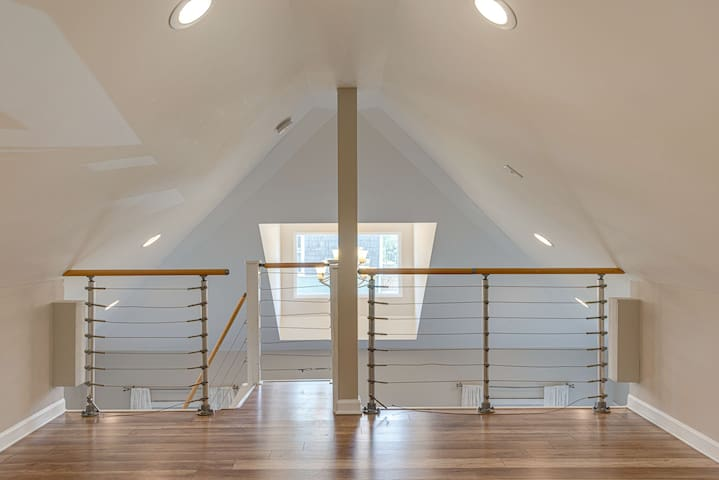 Upstairs is a sleeping loft that can accommodate up to 4 additional people.