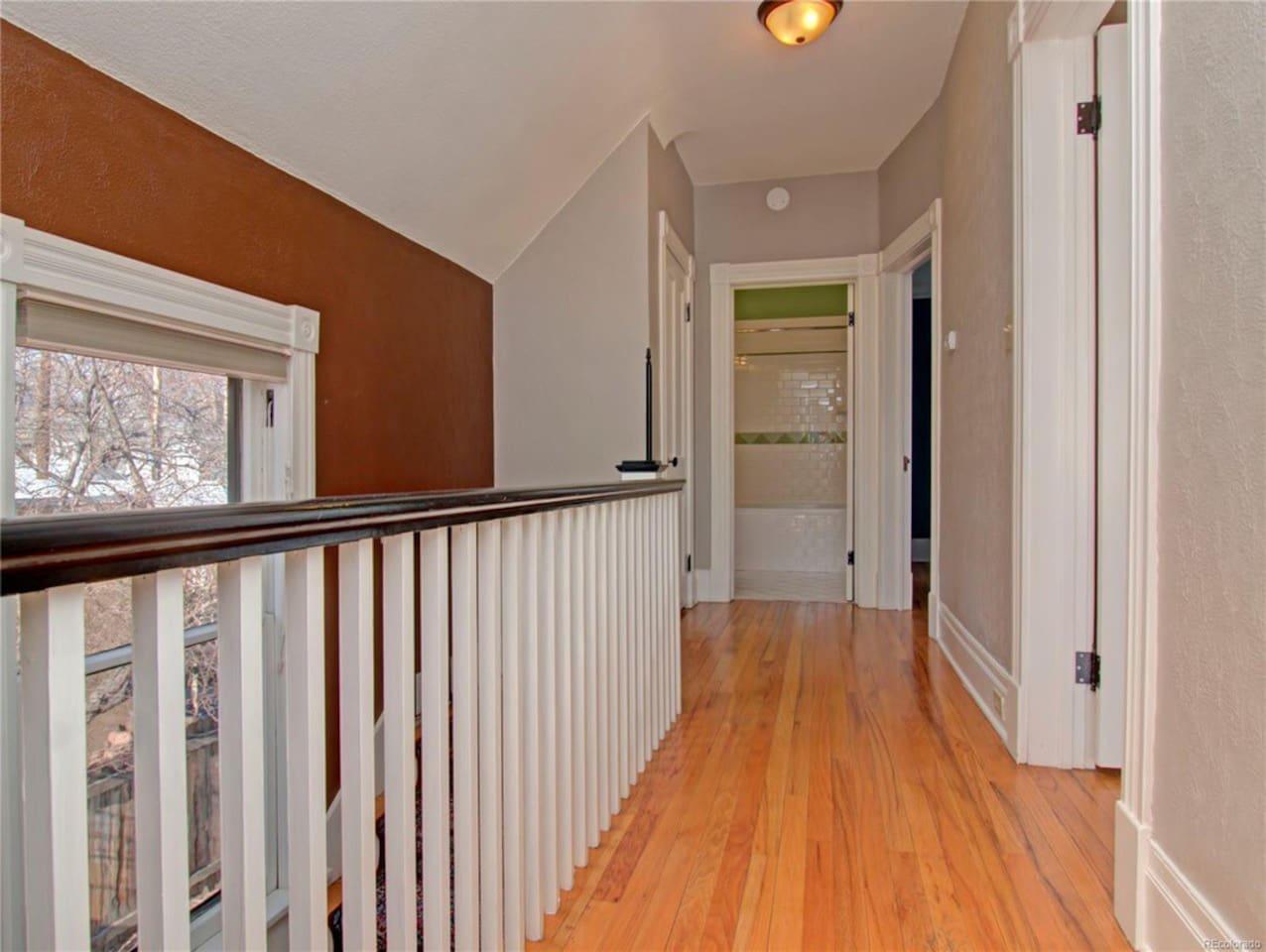 The upstairs hallway.