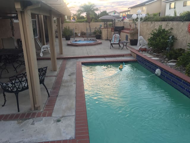 lap pool and  jacuzzi . BBQ, sink and surround sound in all of backyard. 2 nice rod iron tables with comfortable chairs to eat on or just enjoy the day. Ceiling fans and lights above the tables. Organic avocados from my trees.