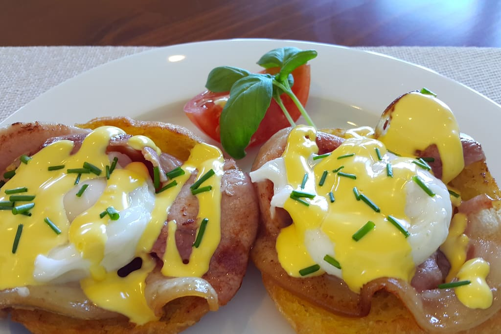 Eggs Benedict with free range eggs from our chickens