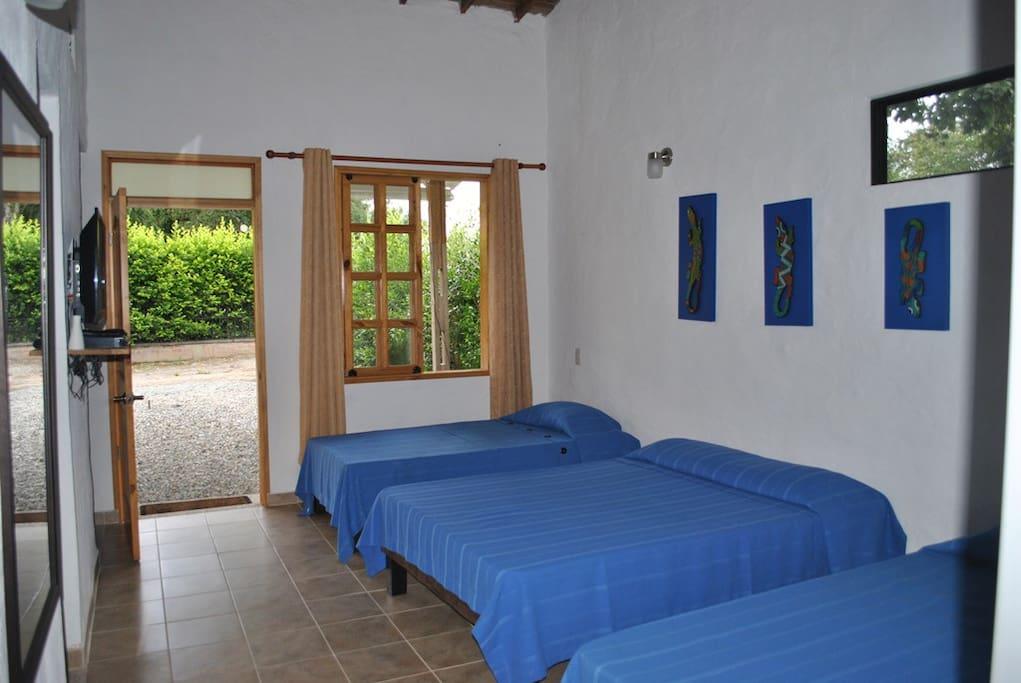 habitacion tipo suite, baño privado, tv, wifi, amplios espacios, blacon con hamaca, cocina privada.