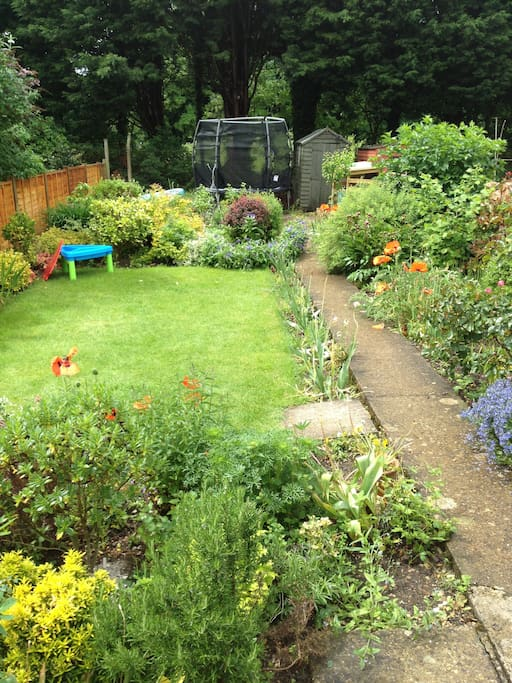 Large garden - with trampoline at the end!