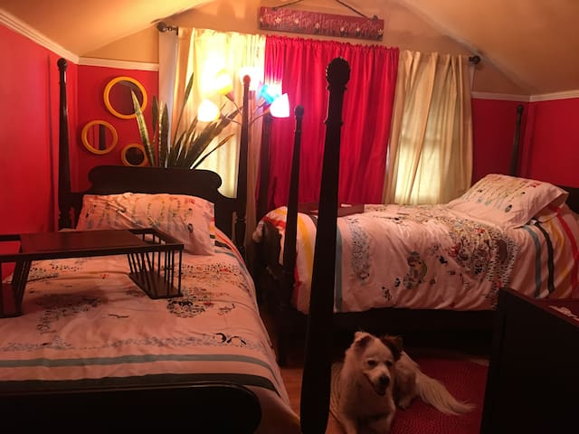 Red Room for 2 in large 420 friendly home