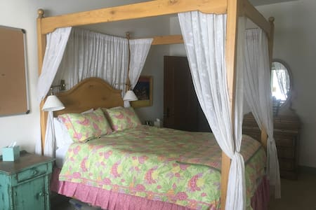 Sun filled room with queen canopy bed.