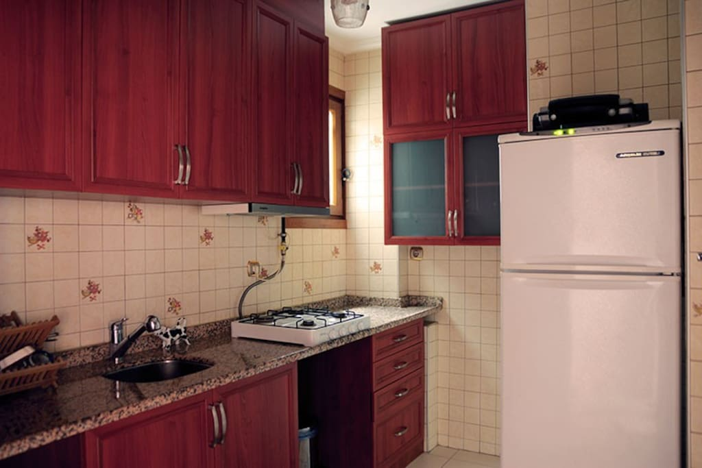 Kitchenette is equiped with fridge, oven, kettle and utensils.