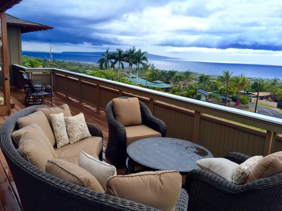 """Second Floor Lanai With Unobstructed """"Five Island"""" Views - This One Showing Kahoolawe And Molokini"""