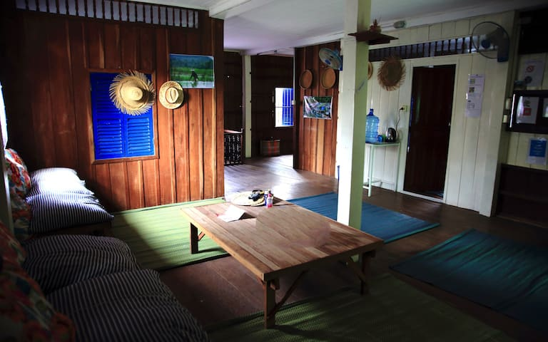 Private room in traditional khmere wood house