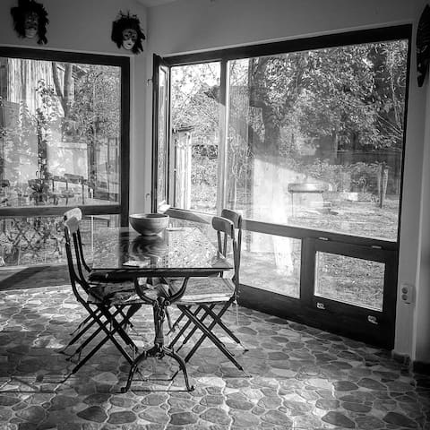 The terrase was built as a modern extension of the house. It's characteristics are given by the wide glass panes that opens up the viewing over the garden. Here you may serve your breakfast or have lunch while admiring the lovely orchard.