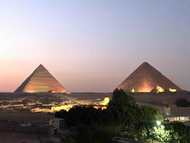 Sphinx palace pyramids view 3