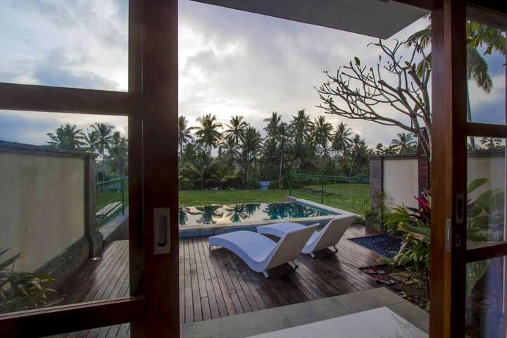 Romantic villa ,cozy bedroom with ricefield view