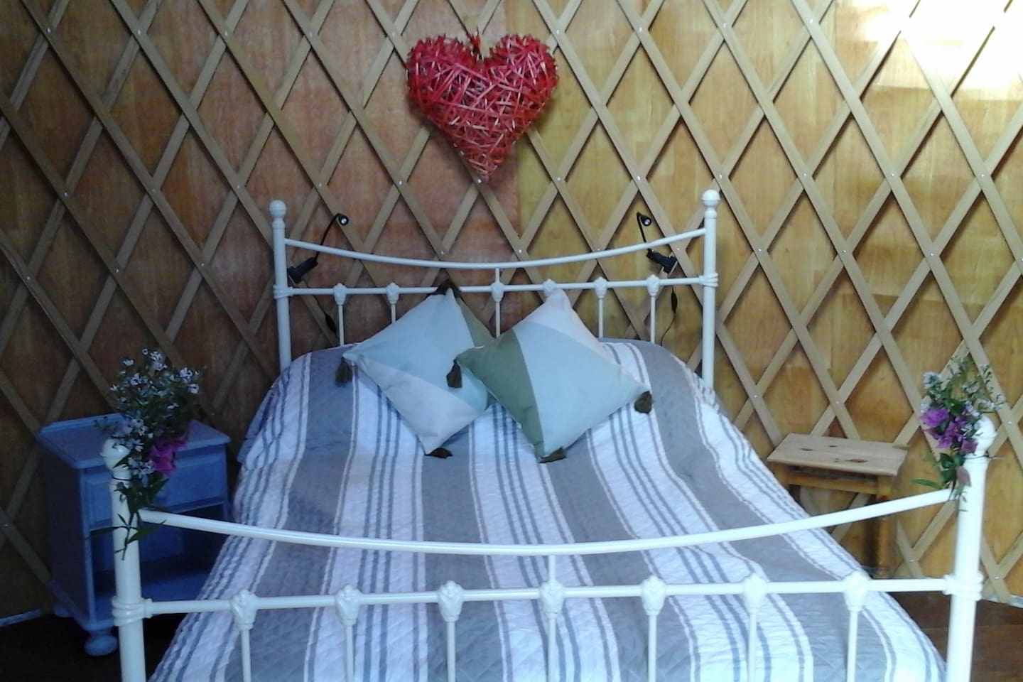 Welcome to Yippee Yurts  this is your comfortable bed in Pear Tree Yurt.