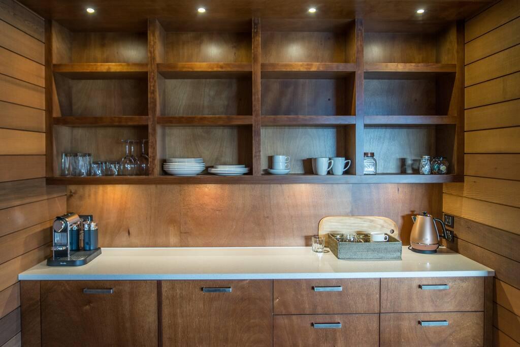 Fridge, microwave, toaster, tea, coffee machine provided