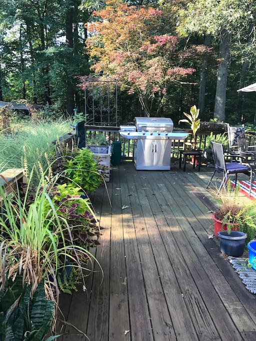 Porch in the summer - ready for a BBQ.