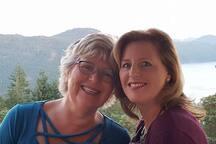 Deborah with her daughter appreciating the spectacular local views
