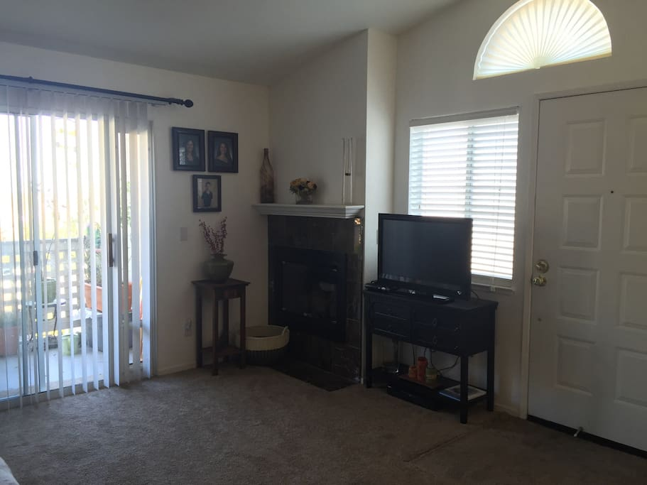 Living area/television/gas fireplace