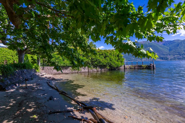 Communal sandy lake beach
