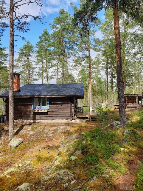 Безмятежная домик из древесины у озера
