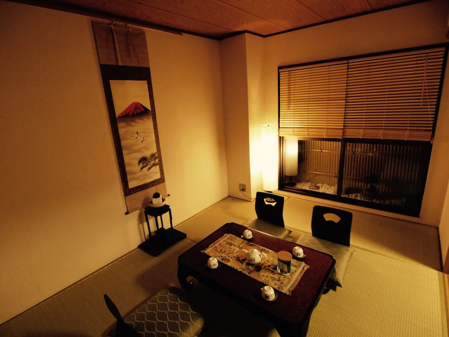 Japanese room with Tatami mats and the tiny zen garden by my father.