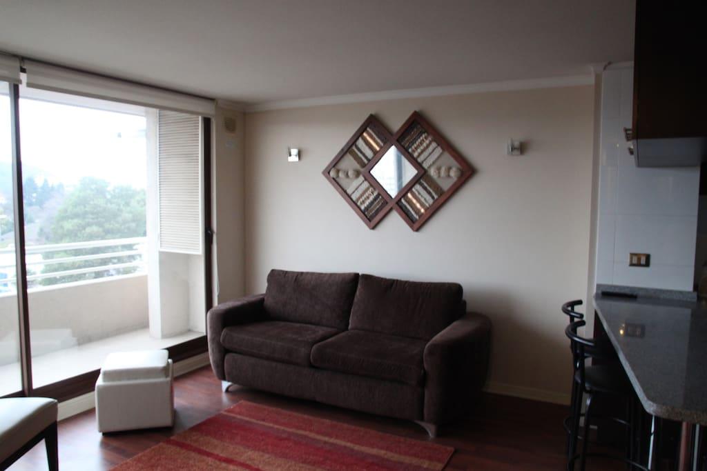 Living con vista al sofa cama capacidad para dos personas