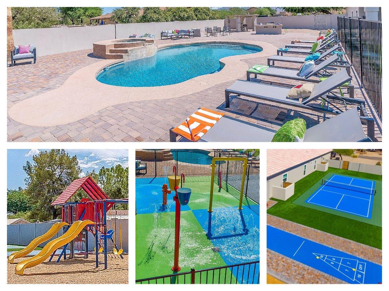 Pool, Hot Tub, Playground, Splashpad, Pickleball Court, Shuffleboard